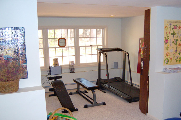 Basement with workout area