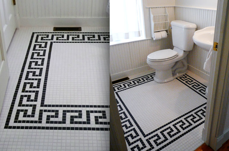 Black and white tile floor design