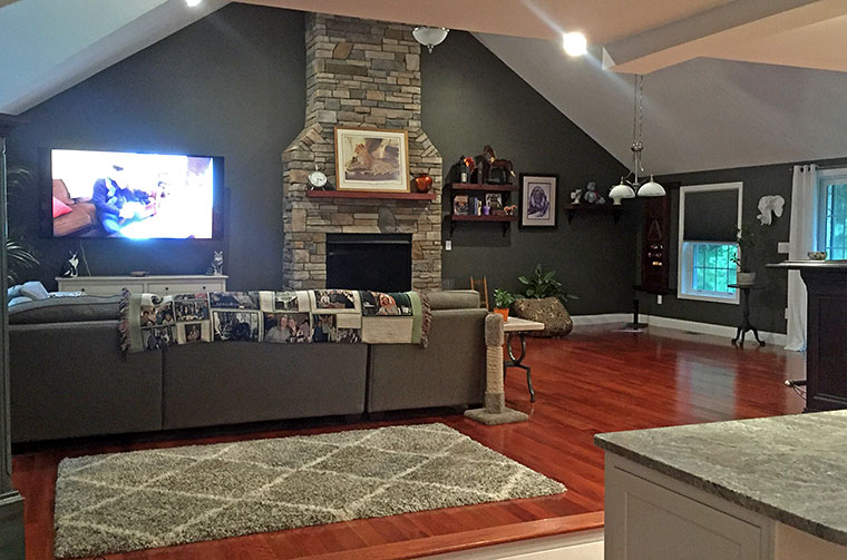 Stone fireplace in living room