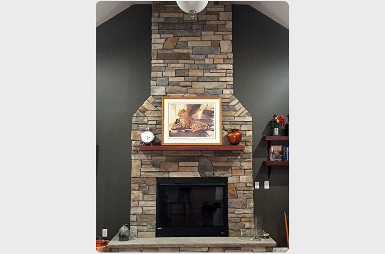 Close-up view of stone fireplace